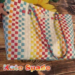 Kate Spade basket weave colorful tote bag New NWOT